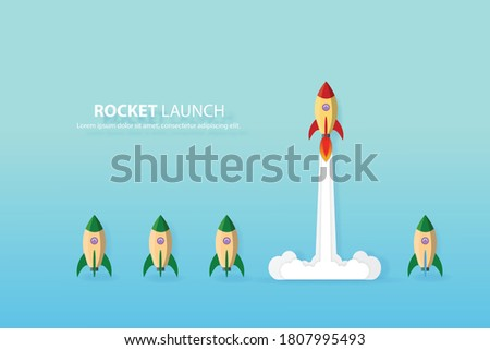 Think different,the rocket flying to the sky move for success in life concept of courage, enterprise, confidence, belief, fearless, daring, leadership vector illustration ストックフォト ©
