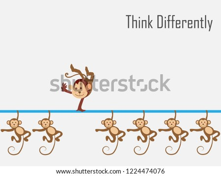 Think differently - Being different, standing out from the crowd -The graphic of monkey also represents the concept of individuality , confidence, uniqueness, innovation, creativity.