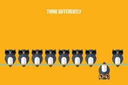 Think differently - Being different, standing out from the crowd -The graphic of owl also represents the concept of individuality , confidence, uniqueness, innovation, creativity.