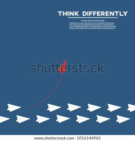 Think differently business concept illustration, Red airplane changing direction and white ones. New idea, change, trend, courage, creative solution, innovation and unique way concept.