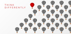 Think differently concept. hot air balloon changing direction. Vector illustration