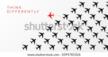 Think differently concept. Red airplane changing direction. Vector illustration