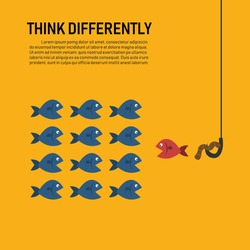think differently fish concept. isolated on yellow background. vector illustration flat design. One red different fish swimming opposite way of identical blue ones. confidence, success and creativity.