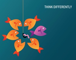 Think differently. Fish with earthworms and hooks on blue background. Concept of survival from victim. Vector illustration in flat design.