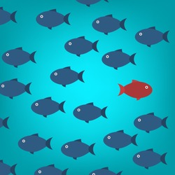 Think differently -One red unique different fish swimming opposite way of identical blue ones. Courage, confidence, success, crowd and creativity concept. EPS 10 vector illustration.