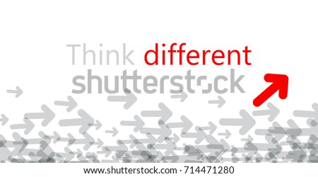 Think differently poster with colorful arrows. Vector motivation illustration.