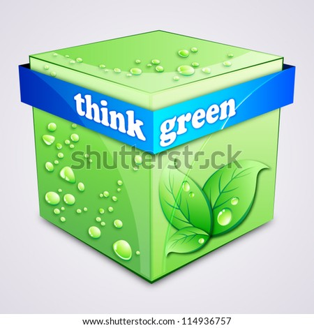 Think green concept. Ecology cube.