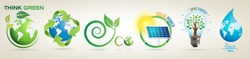 Think Green, Recycle, Solar Power Save Energy, Save Water- Vector Logo Set