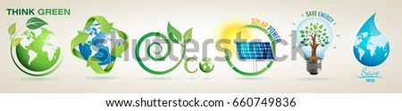 Think Green Recycle, Solar Power Save Energy, Save Water- Vector Logo Set