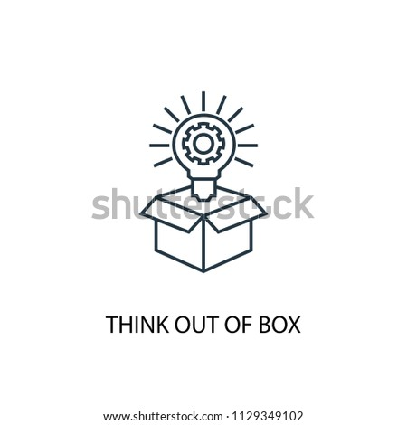 Think out of box concept line icon. Simple element illustration. Think out of box concept outline symbol design from Project management set. Can be used for web and mobile UI/UX