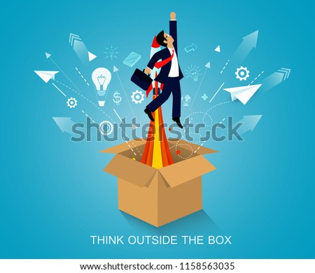 think outside the box. businessmen launch to the sky. on background blue. startup business concept. creative idea. leadership. vector art and illustration
