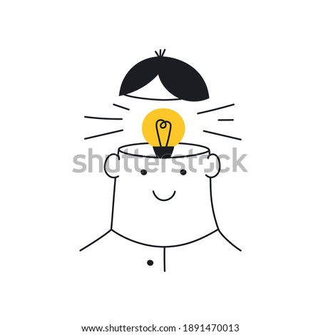 Think outside the box, light bulb in a head, Idea, brainstorming, dreaming creativity. New idea, brainstorming, solution, creativity. Flat line elegant vector illustration on white.