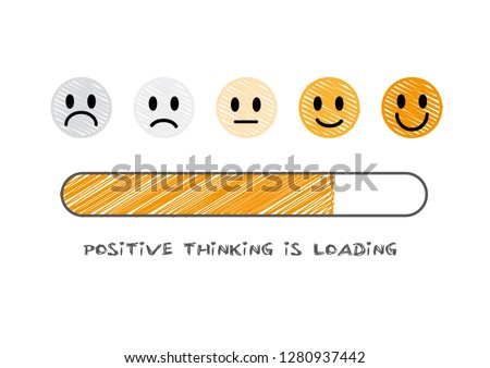 think positive and optimistic to have happy life in progress. Vector Doodle illustration
