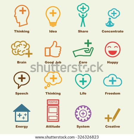 think positive elements, vector infographic icons