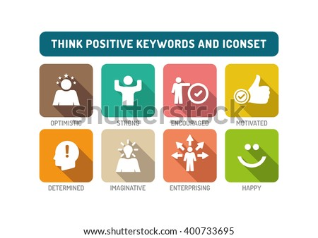 think positive flat icon set