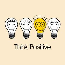 think positive over pink  background vector illustration