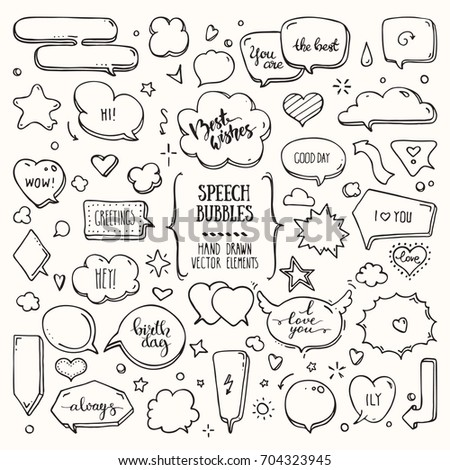 Think & talk speech bubbles with love message, birthday congratulation, greeting. Artistic collection of hand drawn doodle style comic balloon, cloud, heart shaped design elements. Isolated vector set