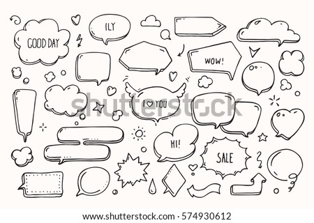 Think & talk speech bubbles with love message, greetings and sale ad. Artistic collection of hand drawn doodle style comic balloon, cloud, heart shaped design elements. Isolated vector set.