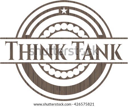 Think Tank badge with wood background