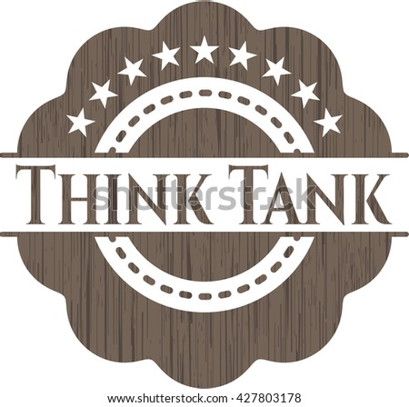 Think Tank badge with wooden background