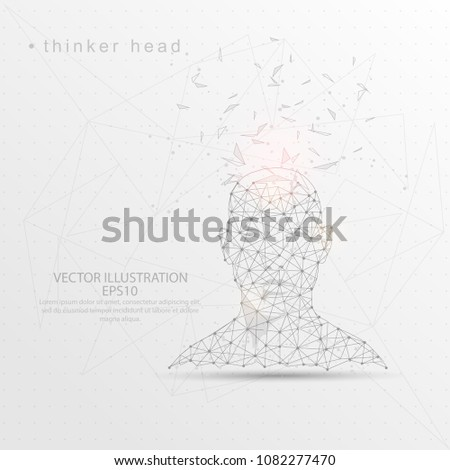 Thinker head front view shape point, line and composition digitally drawn in the form of broken a part triangle shape and scattered dots low poly wire frame on white background.