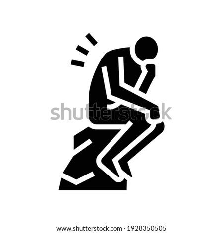 thinker philosophy glyph icon vector. thinker philosophy sign. isolated contour symbol black illustration ストックフォト ©