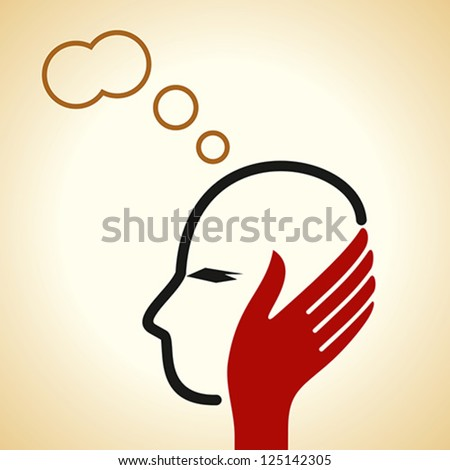 thinking about vector - stock vector
