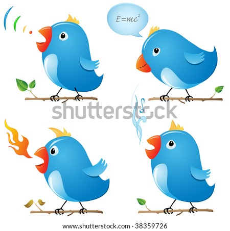 Thinking bird, speaking bird, angry bird and singing bird Stock photo ©