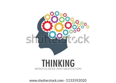 Thinking Brain Imagination Logo Vector Illustration