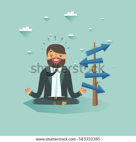 Thinking businessman meditating front of crossroad and selecting the best solution. Possibilities for business concept. Vector colorful flat illustration.