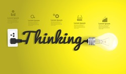 Thinking concept modern design template, Creative light bulb idea abstract infographic workflow layout, diagram, step up options, Vector illustration