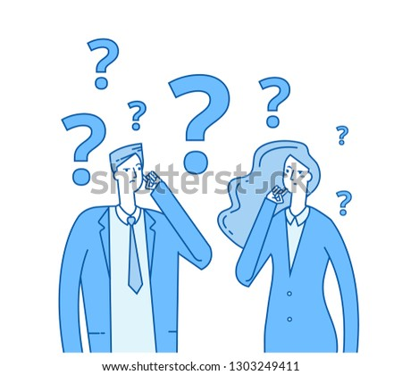 Thinking couple. Confused young girl man with question marks. Troubled people think vector concept