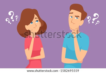 Thinking couple. Male and female characters expression standing and have a question face brainstorming emotions concept human thinks vector