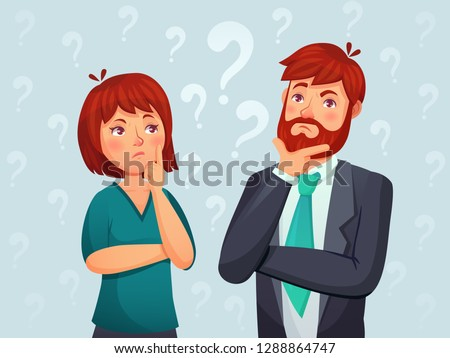 Thinking couple. Thoughtful man and woman, confused troubled question and people finding answer. Retired thinking and worried businessmans characters cartoon vector illustration