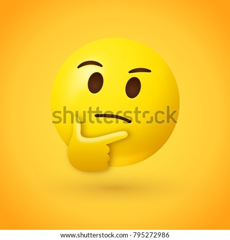 Thinking face emoji - emoticon face shown with a single finger and thumb resting on the chin glancing upward on yellow background