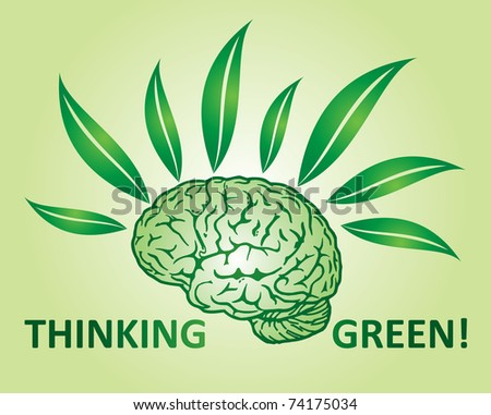 Thinking green environmental concept with human mind and leaf