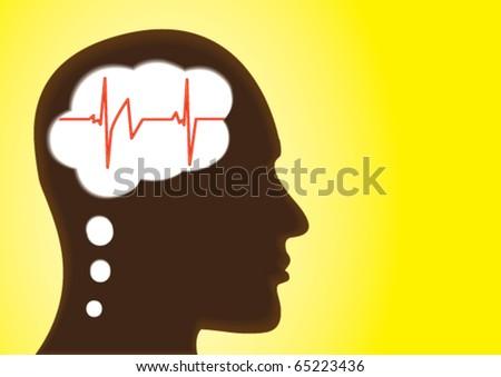 Thinking Head â?? Depicting Heart-Health, cardiogram, emotion, Love