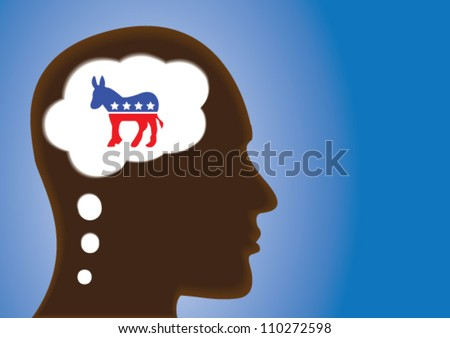 Thinking Head - silhouette thinking of Democratic Political party symbol of United States of America in thought bubble.