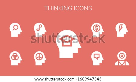 thinking icon set. 9 filled thinking icons. Included Mind, Mind control icons