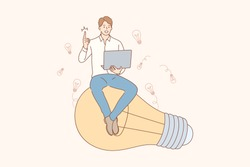 Thinking, idea, success, search, business concept. Young happy smiling businessman guy clerk manager character sitting on light bulb. Creation of idea, problem or trouble solution and brainstorming.