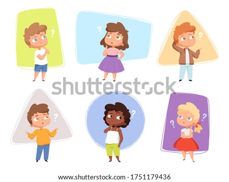 Thinking kids. Children asking question expression and question marks teens vector characters