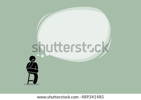 Thinking man sitting on a chair with a big empty bubble cloud. Vector artwork depicts thought, contemplate, idea, wisdom, and understanding.