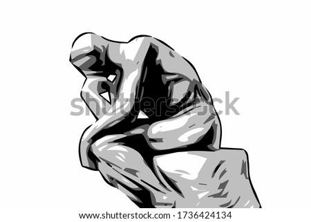 thinking man statue   le