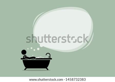 thinking man taking a bath in