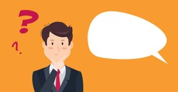 Thinking man with question mark. Cartoon vector illustration of businessman wondering and doubting. Eps 8