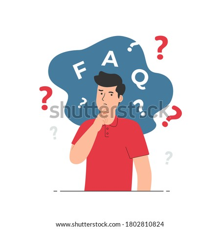 Thinking man with question mark. Confused, doubts, curious. Frequently Asked Questions (FAQ) concept