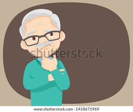 Thinking oldman looking up and reflecting. Pensive grandfather find successful solution.