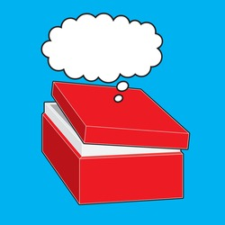 Thinking outside the box bubble vector where the thought bubble is outside the box to symbolise 'Thinking out of the box'. The partially opened lid indicates breaking out from the confines of the box.