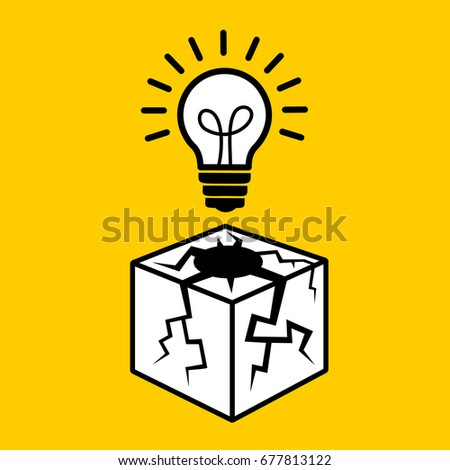 Thinking outside the box - vector illustration of bulb and white cube with cracks as metaphor of creative, innovative, progressive, unusual and unconventional ideas and intellect