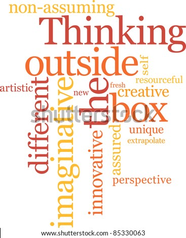 Thinking outside the box word cloud - stock vector